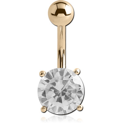 14K GOLD ROUND PRONG SET 6MM CZ NAVEL BANANA WITH HOLLOW TOP BALL