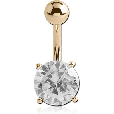 14K GOLD ROUND PRONG SET 9MM CZ NAVEL BANANA WITH HOLLOW TOP BALL