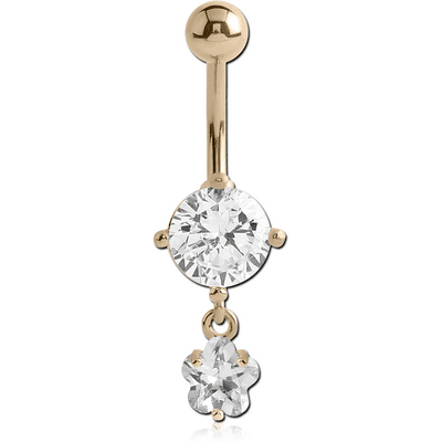 14K GOLD FLOWER CZ DANGLE NAVEL BANANA WITH HOLLOW TOP BALL