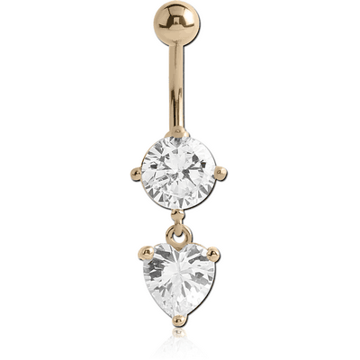 14K GOLD HEART CZ DANGLE NAVEL BANANA WITH HOLLOW TOP BALL