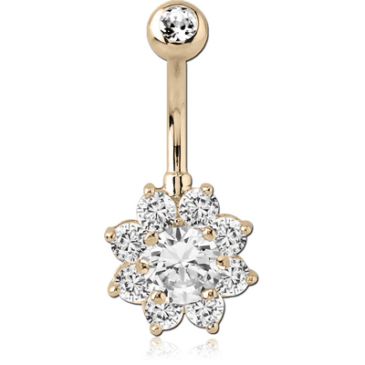 14K GOLD FLOWER MULTI CZ NAVEL BANANA WITH JEWELLED TOP BALL