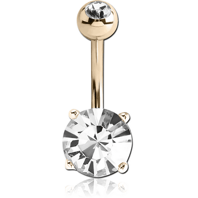 14K GOLD ROUND PRONG SET 6MM CZ NAVEL BANANA WITH JEWELLED TOP BALL