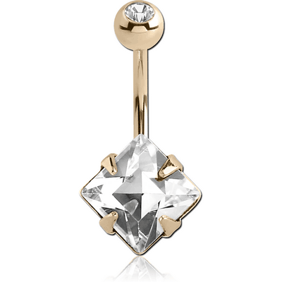 14K GOLD SQUARE PRONG SET 6MM CZ NAVEL BANANA WITH JEWELLED TOP BALL