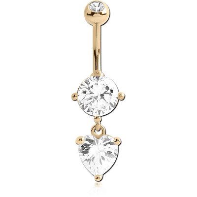 14K GOLD HEART CZ DANGLE NAVEL BANANA WITH JEWELLED TOP BALL
