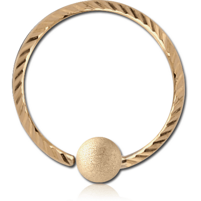 14K GOLD FIXED BEAD RING WITH DIAMOND CUTTING AND BRUSHED BALL