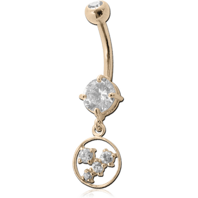 14K GOLD DOUBLE JEWELLED NAVEL BANANA WITH CZ HOOP CHARM