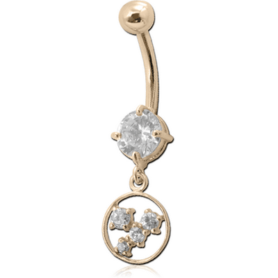 14K GOLD CZ HOOP CHARM NAVEL BANANA WITH HOLLOW TOP BALL
