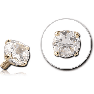 14K GOLD PRONG SET CZ ROUND ATTACHMENT FOR 1.6MM INTERNALLY THREADED PINS