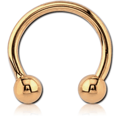 14K GOLD MICRO CIRCULAR BARBELL WITH HOLLOW BALL