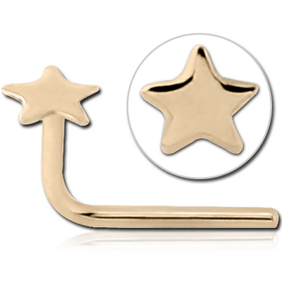14K GOLD 90 DEGREE STAR NOSE STUD