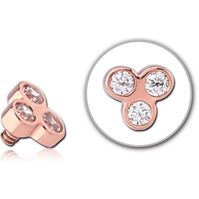 14K ROSE GOLD JEWELLED FOR 1.2MM INTERNALLY THREADED PINS