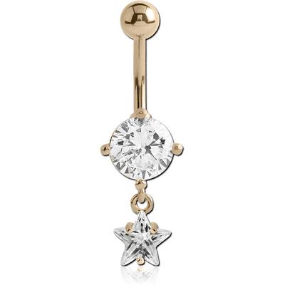 14K GOLD STAR CZ DANGLE NAVEL BANANA WITH HOLLOW TOP BALL