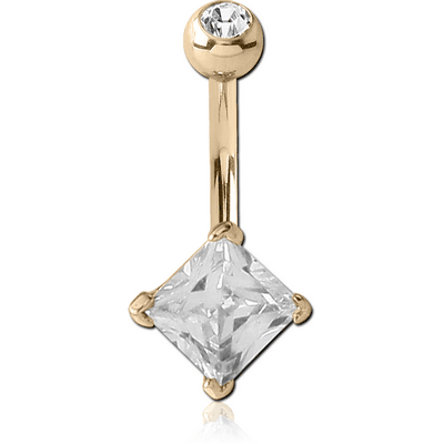 14K GOLD SQUARE PRONG SET 5MM CZ NAVEL BANANA WITH JEWELLED TOP BALL