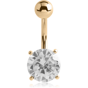 18K GOLD ROUND PRONG SET 6MM CZ NAVEL BANANA WITH HOLLOW TOP BALL