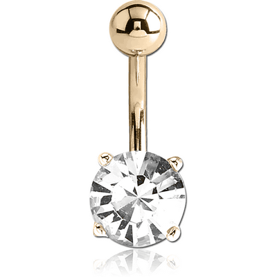 18K GOLD ROUND PRONG SET 7MM CZ NAVEL BANANA WITH HOLLOW TOP BALL