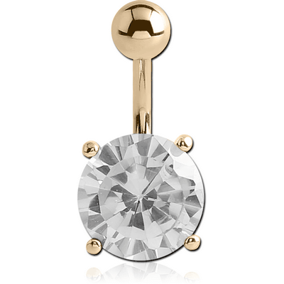 18K GOLD ROUND PRONG SET 10MM CZ NAVEL BANANA WITH HOLLOW TOP BALL