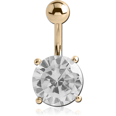 18K GOLD ROUND PRONG SET 12MM CZ NAVEL BANANA WITH HOLLOW TOP BALL