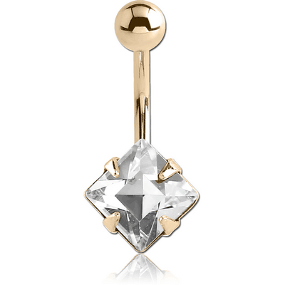 18K GOLD SQUARE PRONG SET 8MM CZ NAVEL BANANA WITH HOLLOW TOP BALL