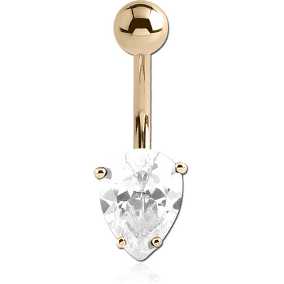 18K GOLD INVERTED PEAR PRONG SET 5X7MM CZ NAVEL BANANA WITH HOLLOW TOP BALL