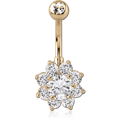 18K GOLD FLOWER MULTI CZ NAVEL BANANA WITH JEWELLED TOP BALL
