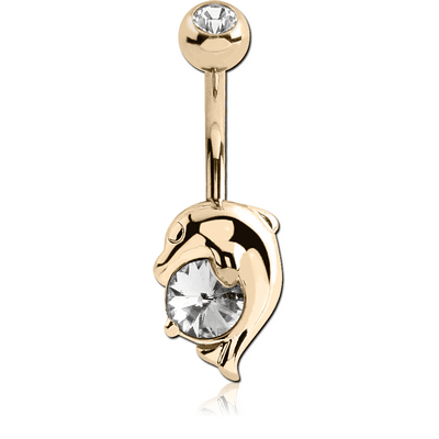 18K GOLD CZ DOLPHIN NAVEL BANANA WITH JEWELLED TOP BALL