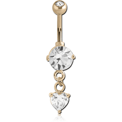 18K GOLD ROUND CZ AND HEART DANGLE NAVEL BANANA WITH JEWELLED TOP BALL