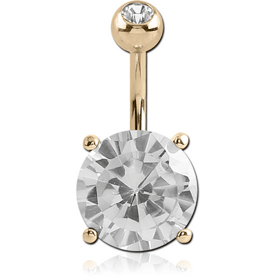 18K GOLD ROUND PRONG SET 12MM CZ NAVEL BANANA WITH JEWELLED TOP BALL