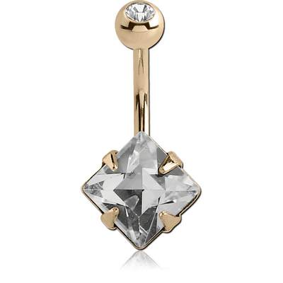 18K GOLD SQUARE PRONG SET 6MM CZ NAVEL BANANA WITH JEWELLED TOP BALL