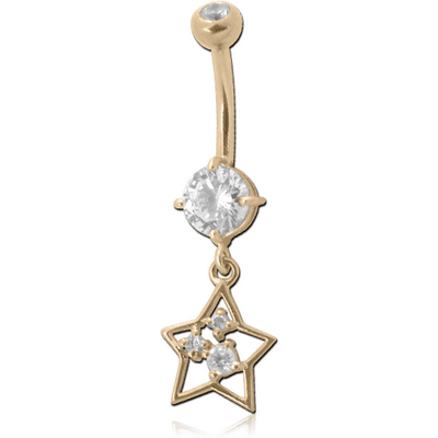 18K GOLD DOUBLE JEWELLED NAVEL BANANA WITHCZ STAR CHARM