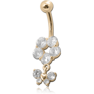18K GOLD JEWELLED NAVEL BANANA WITH CZ BUTTERFLY CHARM
