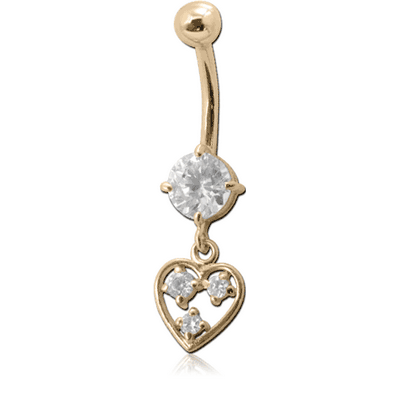18K GOLD CZ HEART CHARM NAVEL BANANA WITH HOLLOW TOP BALL