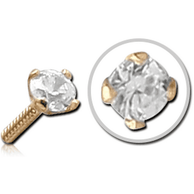 18K GOLD PRONG SET PUSH FIT ATTACHMENT CZ FOR BIOFLEX INTERNAL NOSE STUD