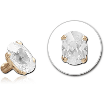 18K GOLD PRONG SET CZ OVAL ATTACHMENT FOR 1.6MM INTERNALLY THREADED PINS