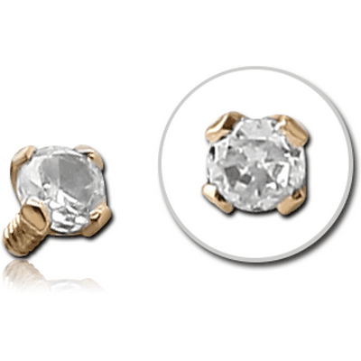 18K GOLD PRONG SET JEWELLED BALL FOR 1.2MM INTERNALLY THREADED PINS