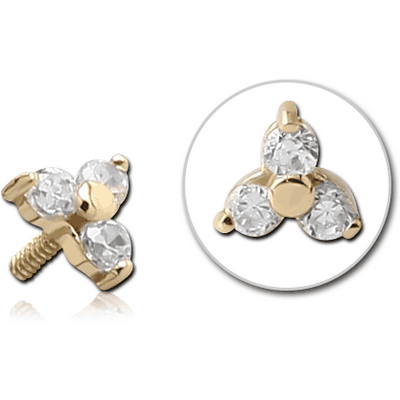 18K GOLD CLUB JEWELLED ATTACHMENT FOR 1.2MM INTERNALLY THREADED PINS
