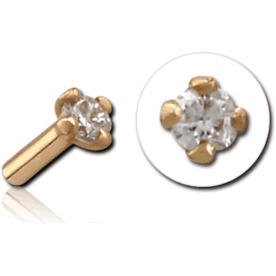 18K GOLD PRONG SET DIAMOND JEWELLED PUSH FIT ATTACHMENT FOR BIOFLEX INTERNAL LABRET