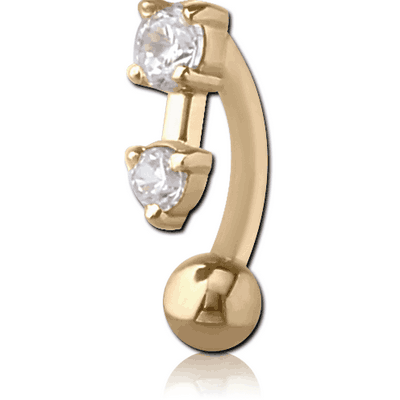 18K GOLD PRONG SET 2 ROUND CZ CURVED MICRO BARBELL