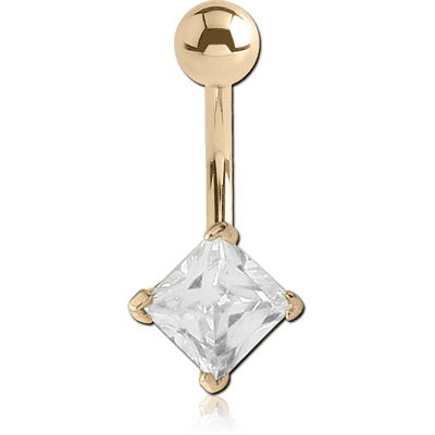 18K GOLD SQUARE PRONG SET 5MM CZ NAVEL BANANA WITH HOLLOW TOP BALL