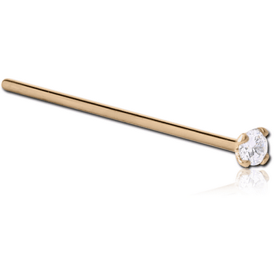 18K GOLD 3 MM PRONG SET JEWELLED STRAIGHT NOSE STUD