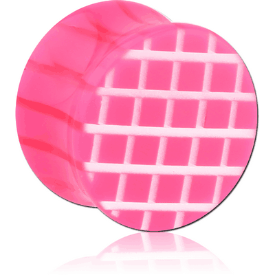 UV ACRYLIC DOUBLE FLARED PLUG WITH CROSS-HATCH PATTERN