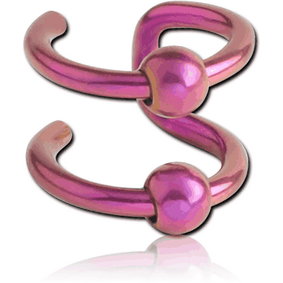 ANODISED SURGICAL STEEL DOUBLE ILLUSION EAR CUFF WITH BALLS
