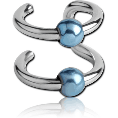 SURGICAL STEEL DOUBLE ILLUSION EAR CUFF WITH ANODISED BALLS