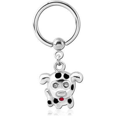 SURGICAL STEEL BALL CLOSURE RING WITH CHARM - DOG