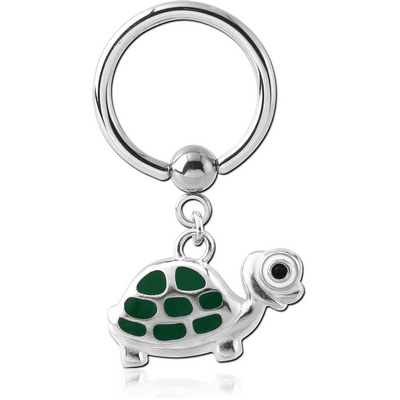 SURGICAL STEEL BALL CLOSURE RING WITH CHARM - TURTLE