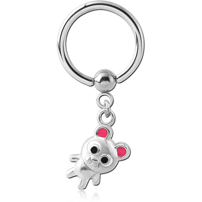 SURGICAL STEEL BALL CLOSURE RING WITH CHARM - BEAR