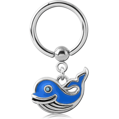 SURGICAL STEEL BALL CLOSURE RING WITH CHARM - WHALE