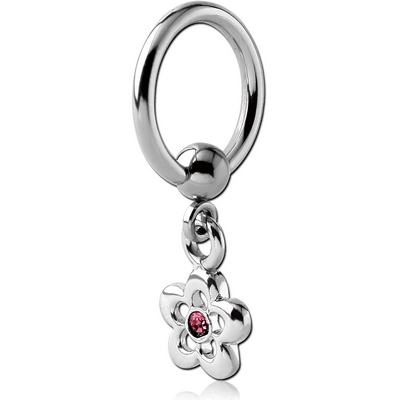 SURGICAL STEEL BALL CLOSURE RING WITH JEWELLED FLOWER CHARM