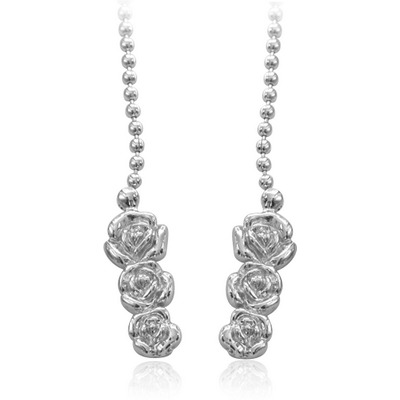 RHODIUM PLATED BELLY CHAIN WITH ROSES
