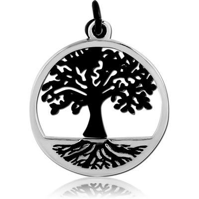 RHODIUM PLATED BRASS CHARM - TREE OF LIFE TWO PLATES
