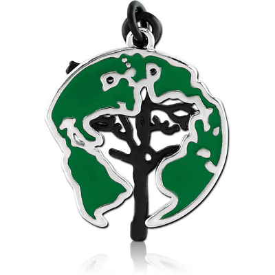 RHODIUM PLATED BRASS CHARM WITH ENAMEL - GLOBE AND TREE
